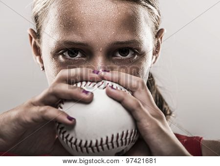 Softball girl with ball
