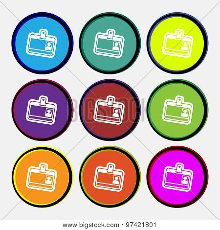 Id Card Icon Sign. Nine Multi Colored Round Buttons. Vector