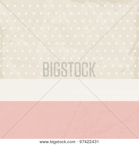 Vintage background pink beige with polka dots