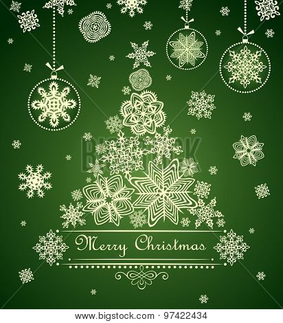 Ornate xmas green card
