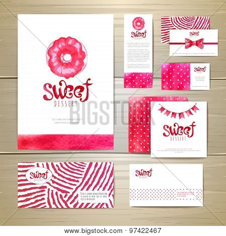 Sweet Dessert Document Template Design. Corporative Identity