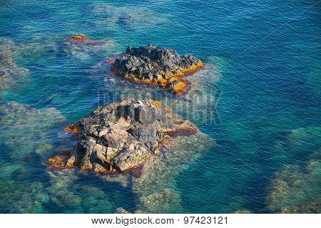 Coastal Rocks In Mediterranean Sea, Corsica