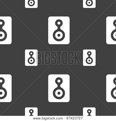 Video Tape Icon Sign. Seamless Pattern On A Gray Background. Vector
