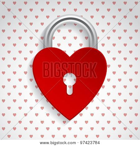Valentine Background With Red Heart Padlock