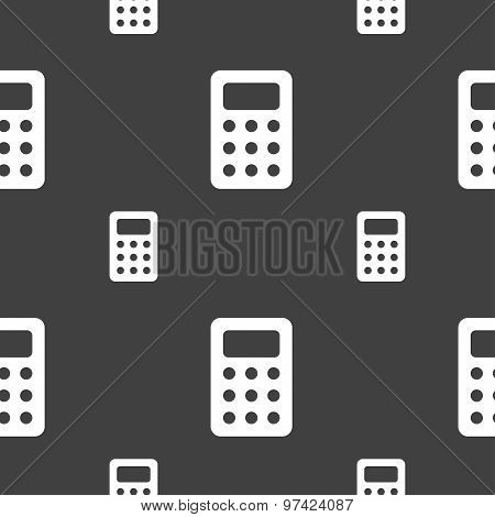 Calculator, Bookkeeping Icon Sign. Seamless Pattern On A Gray Background. Vector