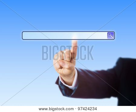 Arm In Suit Touching A Blank Search Engine Tool