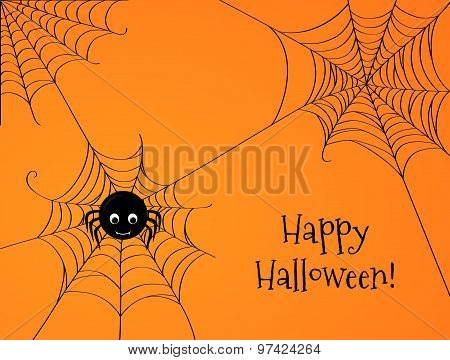 Cute Spider And Webs Over Orange Background
