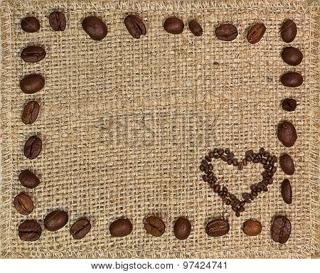 Frame of coffee beans