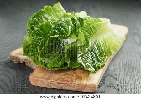 fresh romain green salad leaves on olive board