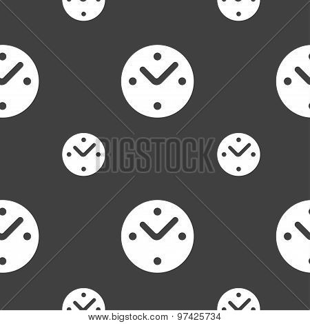 Mechanical Clock Icon Sign. Seamless Pattern On A Gray Background. Vector