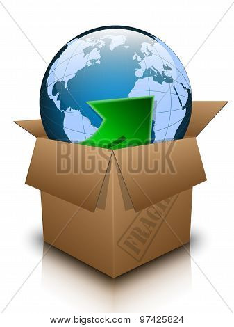Open Box With Planet Earth