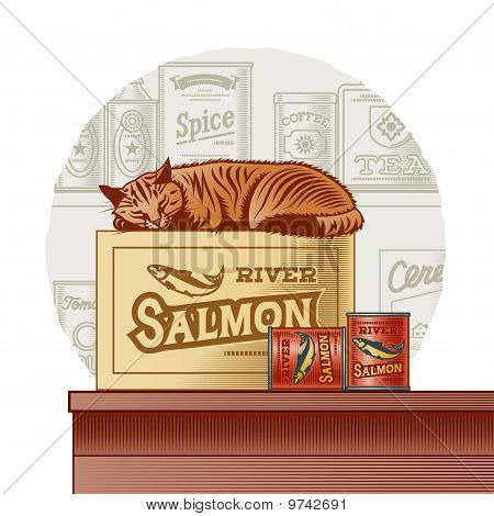 Retro canned fish and sleeping cat