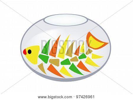 Skeleton Of A Fish In An Aquarium