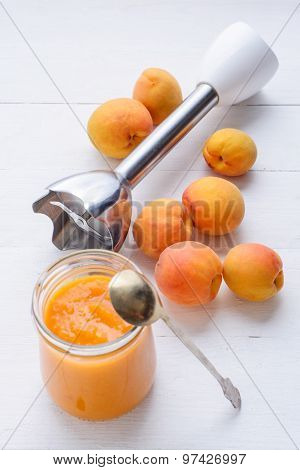 Homemade Fresh Apricot Puree Made By Blender