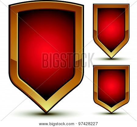 Glossy geometric symbols set, stylized red shield elements with golden outline, graphic design attri