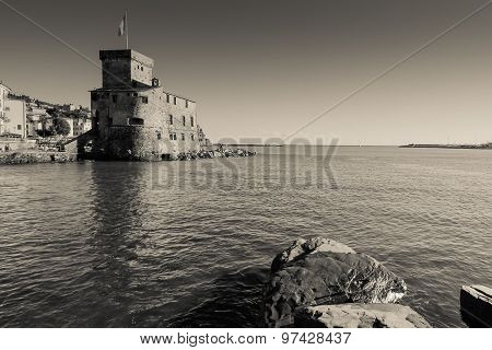 Ancient Castle By The Sea In Rapallo, Italy, Black And White Photography.