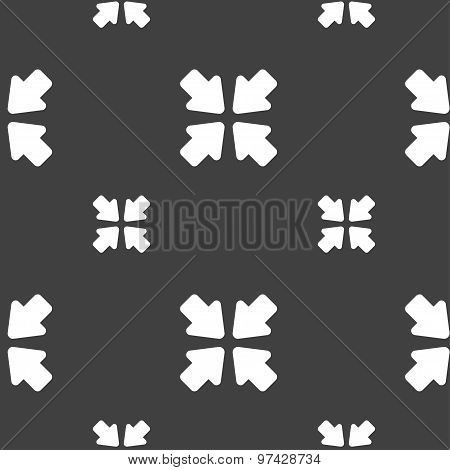 Turn To Full Screen Icon Sign. Seamless Pattern On A Gray Background. Vector