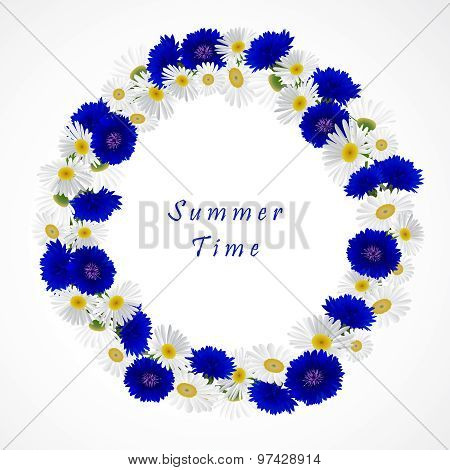 Vector white background with chamomile and cornflowers