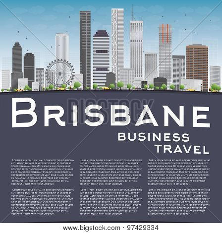Brisbane skyline with grey building, blue sky and copy space. Business travel concept. Vector illustration