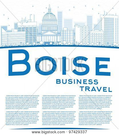 Outline Boise Skyline with Blue Building and copy space. Business travel concept. Vector Illustration