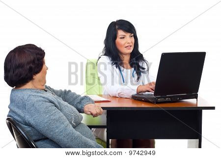 Doctor Woman Conversation With Elderly