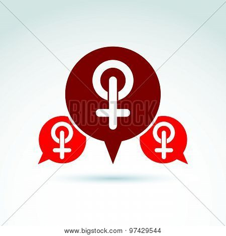 Speech bubble with red female sign, woman gender symbol. Lesbian club conceptual icon, relationship
