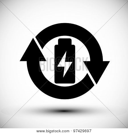 Battery vector simplistic symbol charge indicator icon.