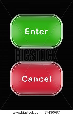 Modern Glass Buttons Enter Cancel