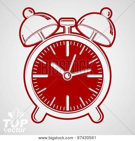 Vector alarm clock with two symmetric bells, decorative wake up conceptual icon. Graphic element
