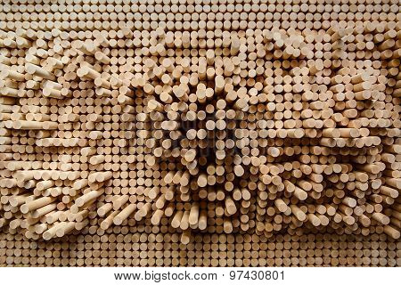 Rows of wooden rounded shanks