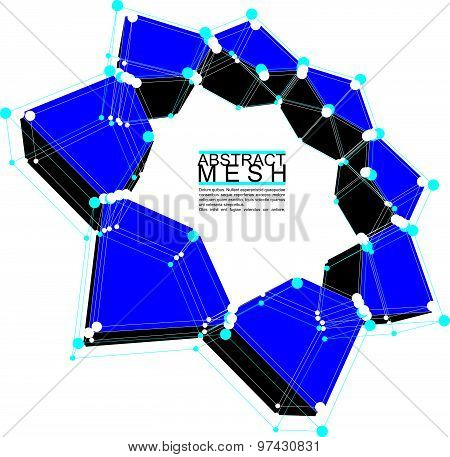 Abstract 3d mesh vector background, conceptual illustration, engineering and new technology and scie