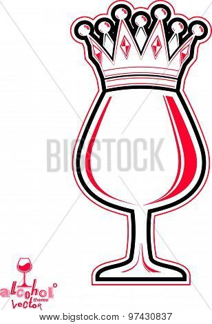 Monarch wineglass with decorative crown, royal theme vector symbol isolated on white background.