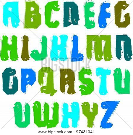 Handwritten colorful vector uppercase letters, stylish letters set drawn with ink brush, alphabet