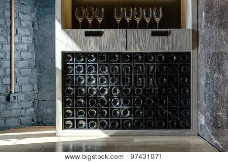 Special shelf for storing wine