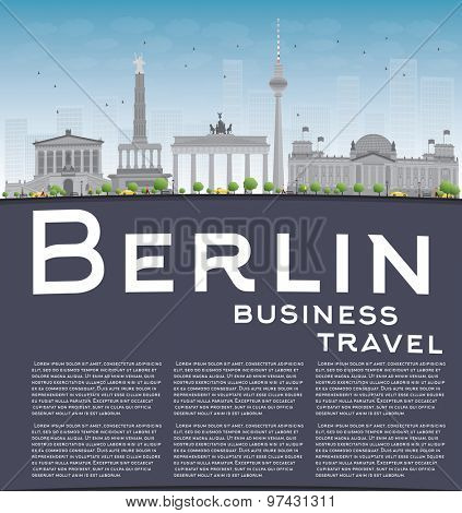 Berlin skyline with grey building, blue sky and copy space. Business travel concept. Vector illustration