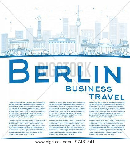 Outline Berlin skyline with blue building and copy space. Business travel concept. Vector illustration