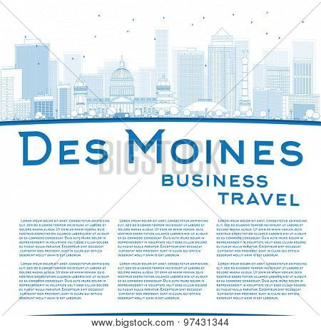 Outline Des Moines Skyline with Blue Buildings and copy space. Business travel concept. Vector Illustration