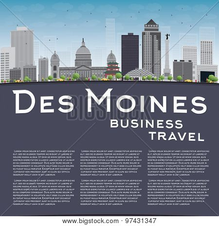 Des Moines Skyline with Grey Buildings, Blue Sky and copy space. Business travel concept. Vector Illustration