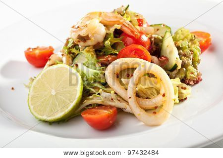 Seafood Salad with Shrimps and Squid Rings