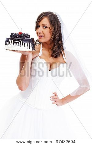 Young Bride Eating Cake