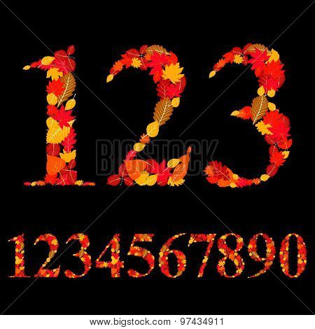 Numbers made with leaves, floral numerals set, vector illustration.