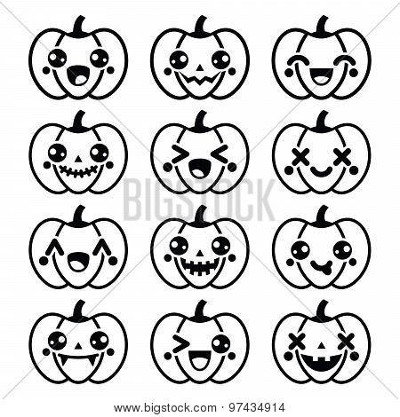Halloween Kawaii cute black pumpkin icons - vector
