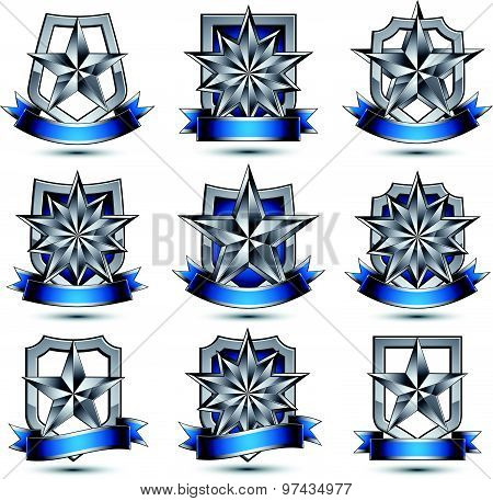 Set of silvery heraldic 3d glossy icons, best for use in web and graphic design, silver stars