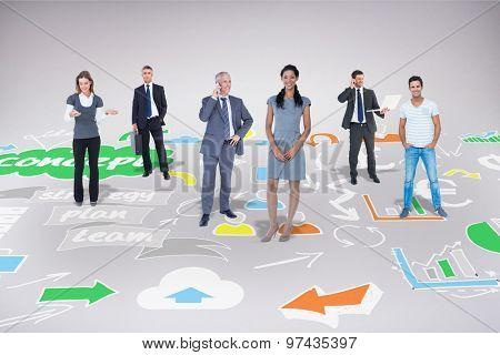 Business team against brainstorm