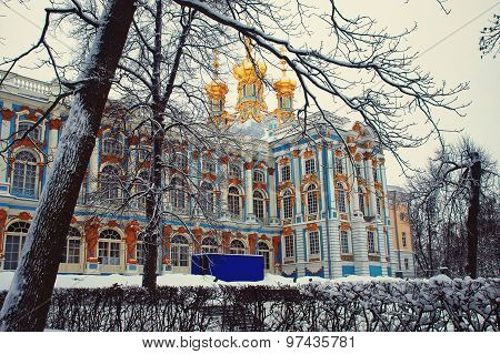 Catherine Palace in winter, Saint Petersburg landmarks