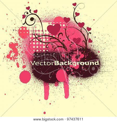 Vector background with blots, splats and halftone effect