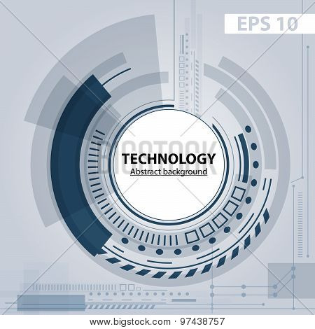 Abstract Technology Contour Object. Light Futuristic Concept, Digital, Round Composition. Vector Ver