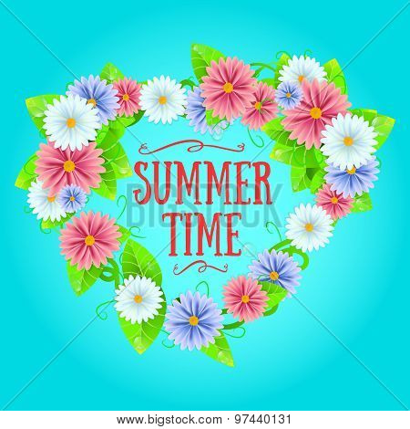 Summer Sign With Frame Of Flowers.