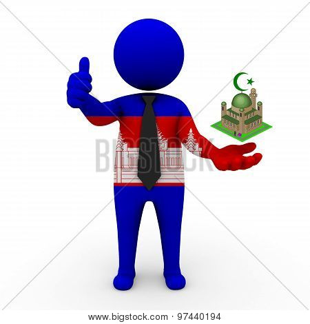 3d businessman people Cambodia - Muslim mosque and Islam in Cambodia
