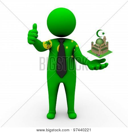 3d businessman people Cocos Islands - Muslim mosque and Islam in Cocos Islands